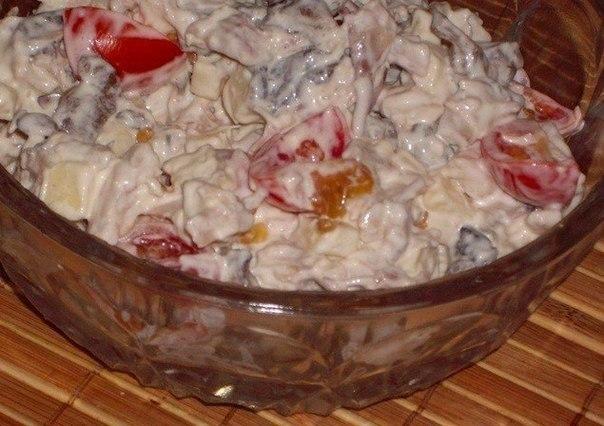 Салат куриная грудка грибы помидоры сыр